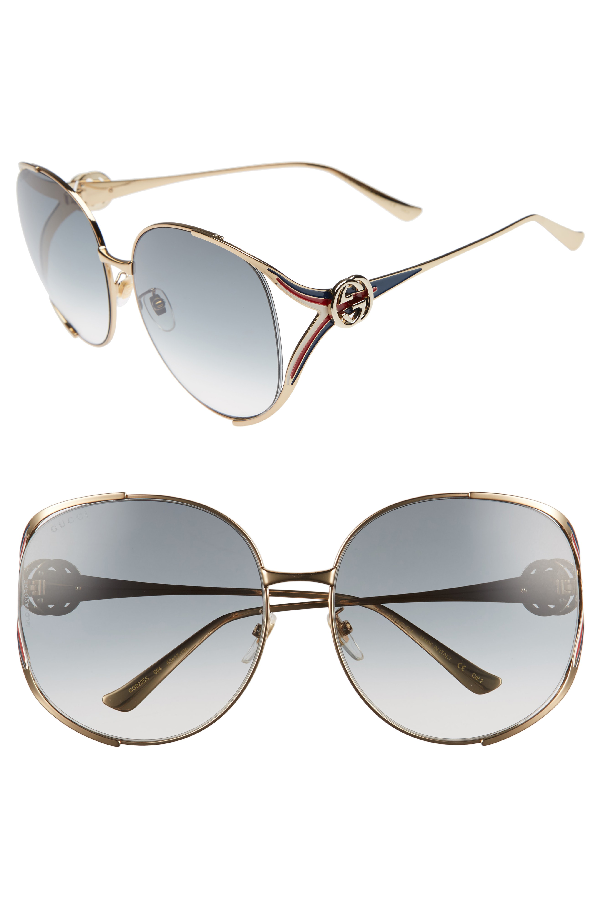 0104e0be70d3 Gucci 63Mm Open Temple Sunglasses In Gold  Grey