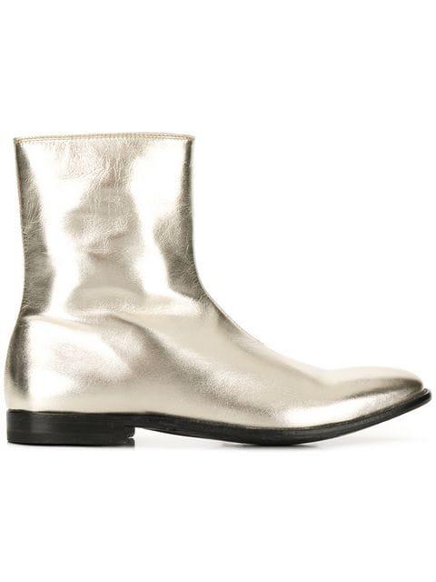 Alexander Mcqueen Men's Dream Metallic Leather Ankle Boots In Gold