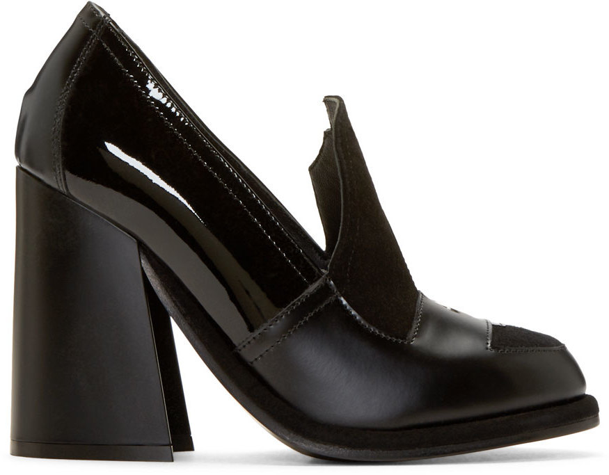 J.W.Anderson Black Leather Loafer Heels