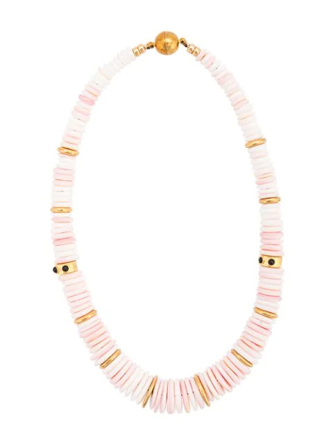 Lizzie Fortunato Circle Beaded Necklace In Pink
