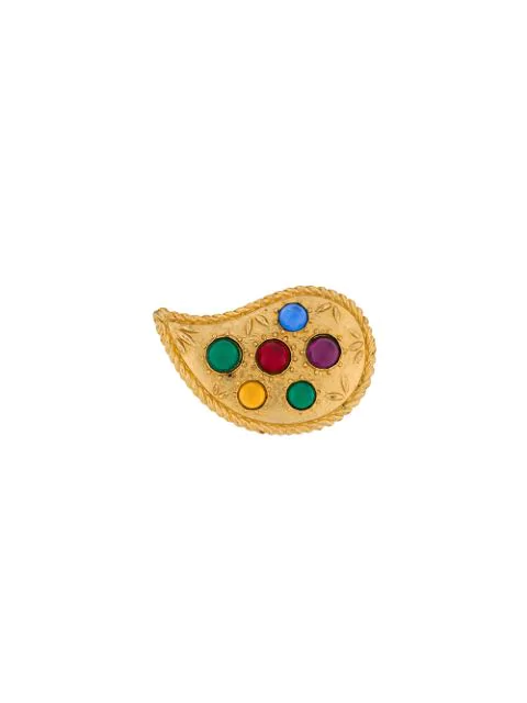 Kenzo Tear Drop Shaped Brooch In Gold