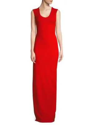 Solace London Mille Crepe Knit Column Gown In Red