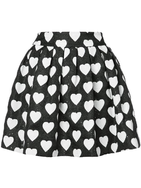 6e9e4b7333 Alice And Olivia Alice+Olivia Hearts Print Pleated Skirt - Black ...