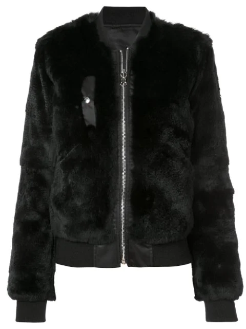 Barbara Bui Fox Fur Bomber Jacket In Black