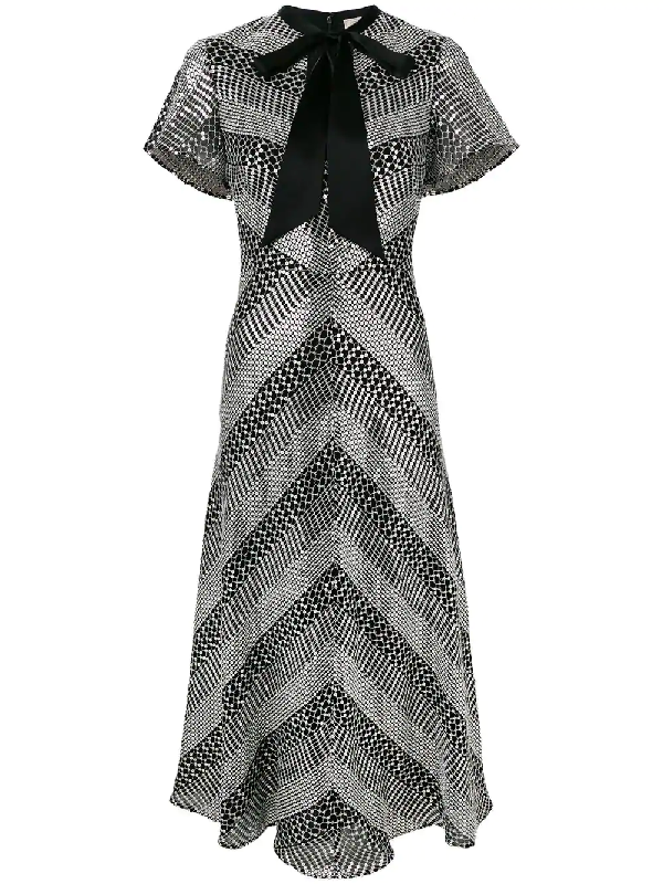 ce8214e9ee8 Temperley London Platinum Striped Sequinned Midi Dress In Black ...