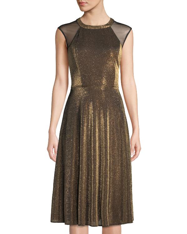 247ce583 Label By 5Twelve Copper Metallic Midi Sheath Dress In Yellow/Black ...