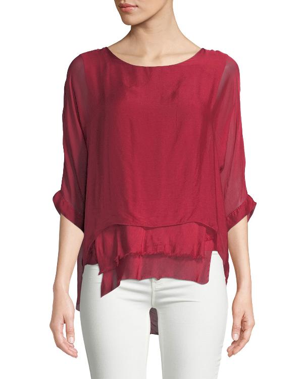 94a937e9a0b97a Moda Seta Chiffon Raw-Edge Layer Top In Red | ModeSens