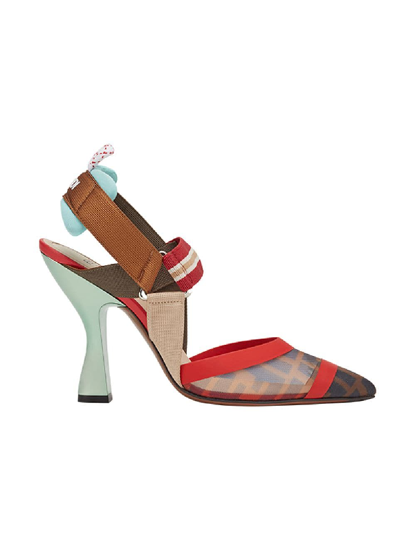 45848e48eb8 Fendi Colibri Slingback Mesh Pumps In Red