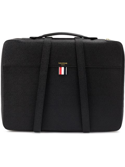 50b49603e3 Thom Browne Top-Handle Pebbled-Leather Document Holder In Black ...