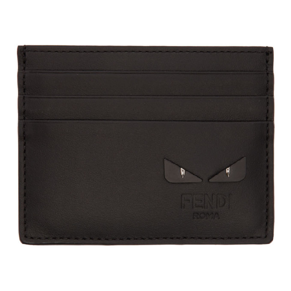 Fendi Black 'Bag Bugs' Card Holder In Fogxn.Black