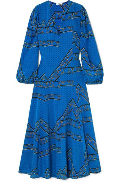 Ganni Cloverdale Floral-Print Silk-Crepe Midi Dress In Blue