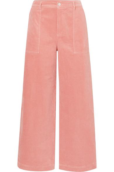 Ganni Ridgewood Wide-Leg High-Rise Corduroy Trousers In Blush