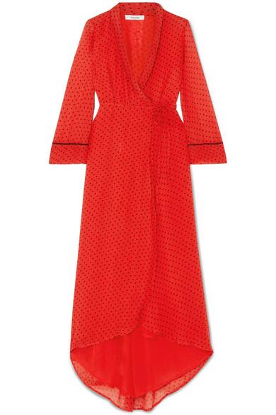 24d18894 Ganni Printed Georgette Wrap Dress In Fiery Red | ModeSens