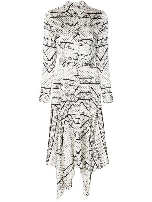 78beffcb Ganni Blakeley Floral-Print Stretch-Silk Shirt Dress In White | ModeSens