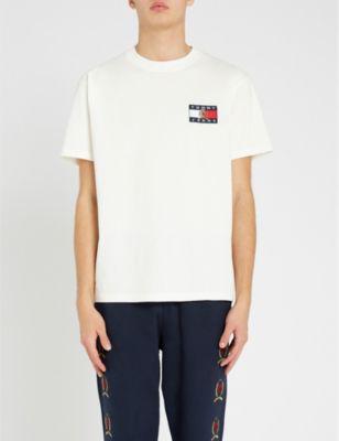 d662100c778e Tommy Jeans Crest Flag Cotton-Jersey T-Shirt In Cloud Dancer