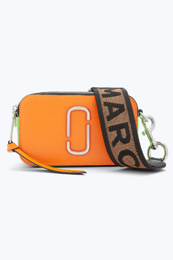 124ed2c1e63 Marc Jacobs Fluorescent Snapshot Logo-Strap Saffiano-Leather Camera Bag In Neon  Orange