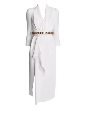 Belted Wrap Silk Dress in Snow White