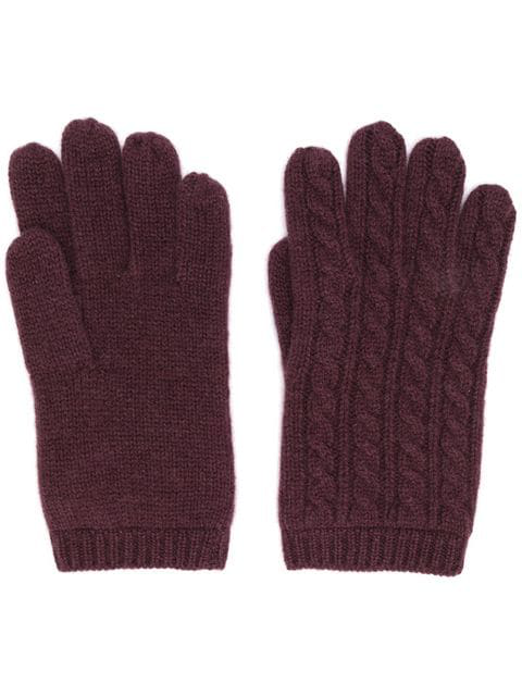 Aspesi Cable Knit Gloves In Red