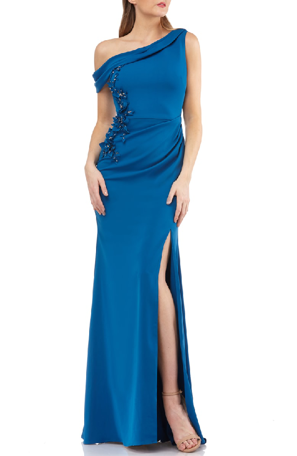 dbda16d689a8f Carmen Marc Valvo Infusion One-Shoulder Crepe Gown In Persian Blue ...