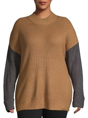 Calvin Klein Plus Colorblock Textured Sweater In Camel