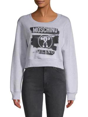 Moschino Logo Cotton Sweatshirt In Grey