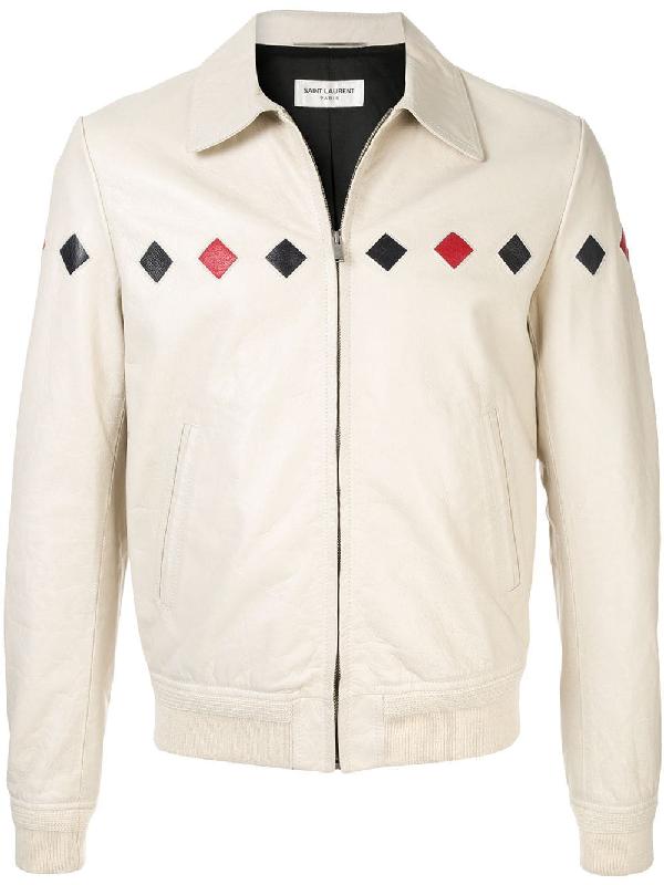 e74263c292 Checked Varsity Jacket In Vintage Crinkled Leather in 9460  -Creme/Blanc/Bleu/Rou