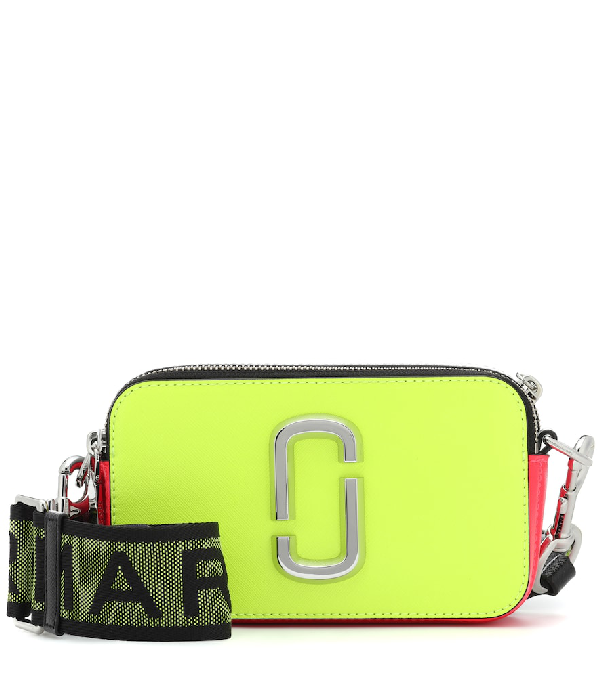 f2ec6a2f8a6c Marc Jacobs Fluorescent Snapshot Logo-Strap Saffiano-Leather Camera Bag In  Yellow