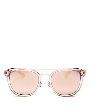 be8cb36b4 Kate Spade New York Women's Jalicia Mirrored Brow Bar Round Sunglasses,  54Mm In Peach/
