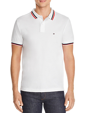 Tommy Hilfiger Stripe-trimmed Polo Shirt In Bright White