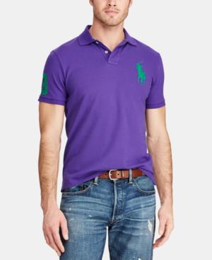 Polo Ralph Lauren Men's Big Pony Custom Slim Fit Mesh Polo, Created For Macy's In Purple Rage