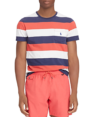 Polo Ralph Lauren Washed Stripe-pattern Pocket Tee In Red