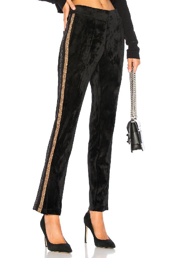 Pam & Gela Metallic-stripe Velour Track Pants In Black
