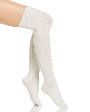 Hue Supersoft Cable Over-the-knee Socks In Ivory