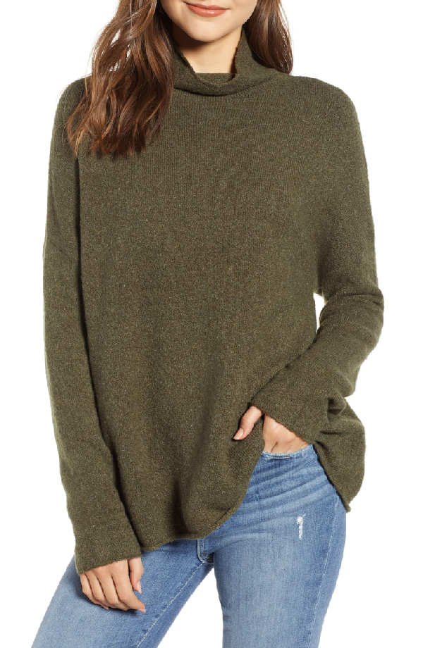 French Connection Flossy Roll Neck Sweater In Dark Olive Night