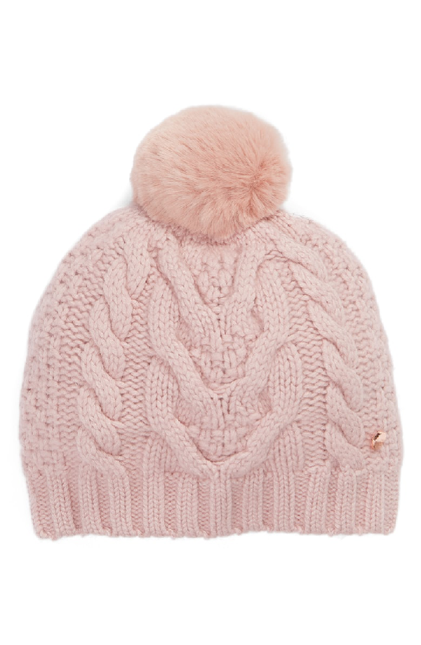 188800d75a8 Ted Baker Quirsa Faux Fur Pom-Pom Cable-Knit Beanie In Pale Pink ...