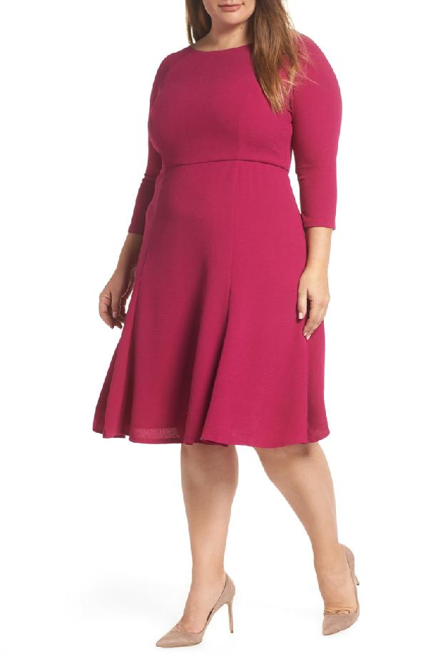 Eliza J Crepe Fit & Flare Dress In Fuschia