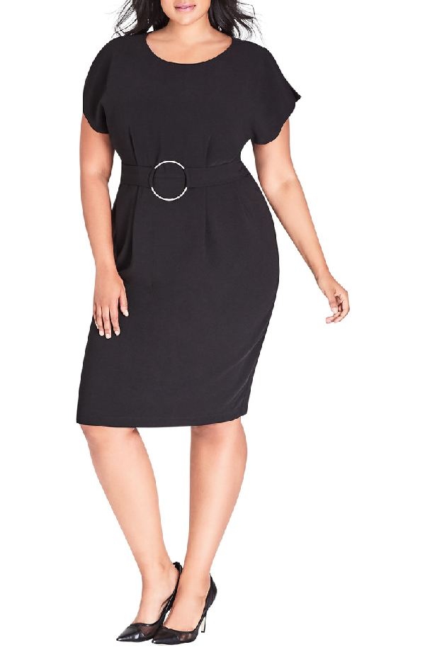City Chic Empower Belted Sheath Dress In Black