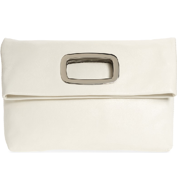 Vince Camuto Large Marti Leather Convertible Clutch In Snow White