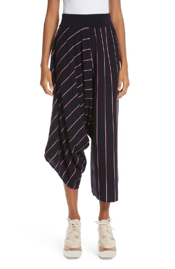Stella Mccartney Stripe Wool Knit Crop Pants In Ink