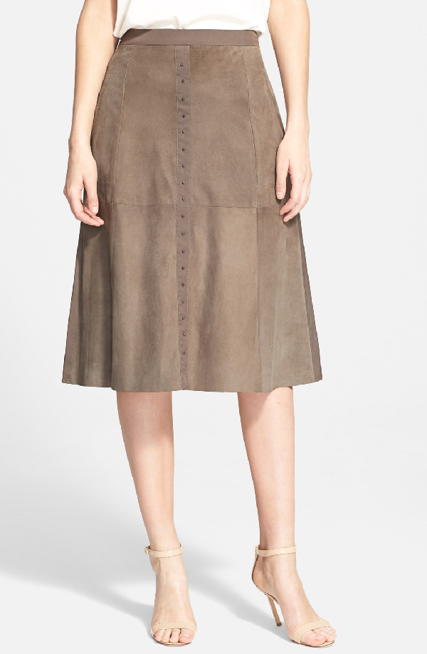 Halston Heritage Studded Suede Front Midi Skirt In Moss