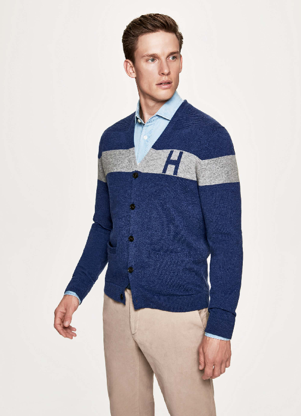 Hackett Mono Stripe Wool And Cashmere Cardigan In Blue