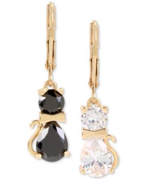 Betsey Johnson Gold-tone Crystal Cat Mismatch Drop Earrings In Crystal/black