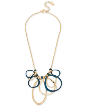 "Robert Lee Morris Soho Gold-tone & Patina Link Statement Necklace, 18"" + 2"" Extender In Gold/patina"
