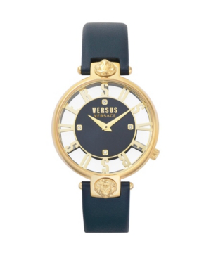 Versus Kristenhof Leather Strap Watch, 34mm In Blue