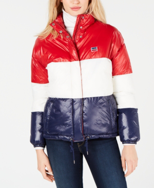 Levi's Quilted Puffer Jacket In Red/white/blue