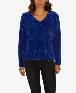 Sanctuary Chenille V-neck Pullover Sweater, Created For Macy's In Electric Blue