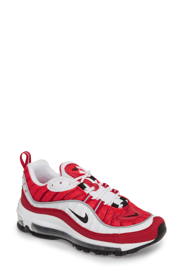 Nike Air Max 98 Running Shoe In White/ Black/ Gym Red