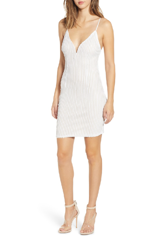 Tiger Mist Tiffany Sequin Stripe Sheath Dress In White