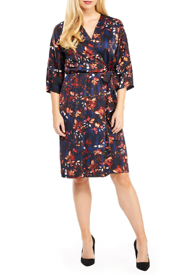 Maggy London Floral Print Charmeuse Faux Wrap Dress In Navy/ Coral