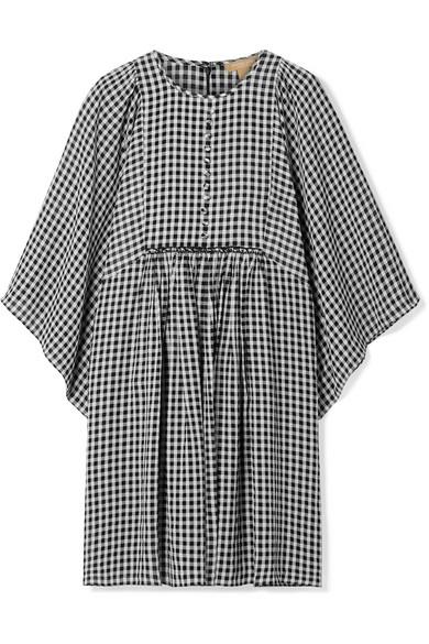 Michael Kors Gingham Seersucker Georgette Dress In Black